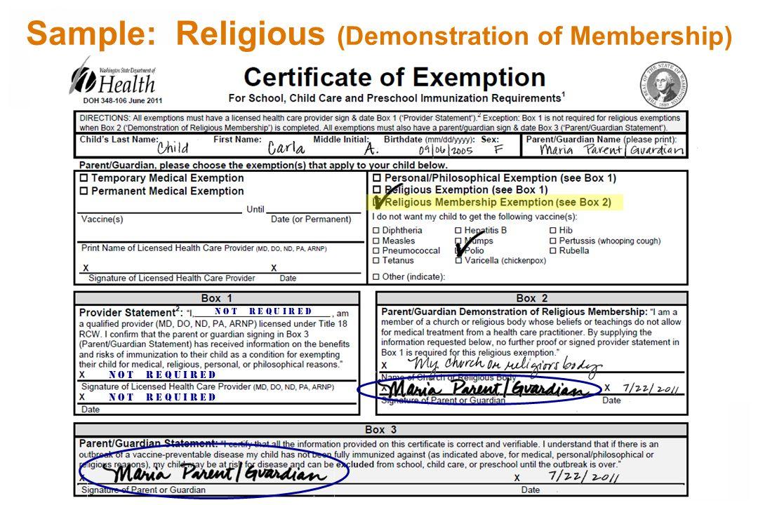 Sample: Religious (Demonstration of Membership) N o t r e q u I r e d