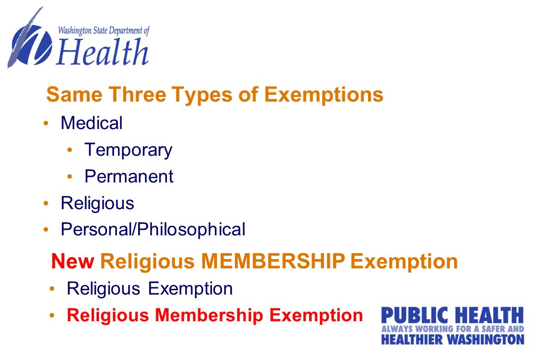 Same Three Types of Exemptions Medical Temporary Permanent Religious Personal/Philosophical Religious Exemption Religious Membership Exemption New Rel