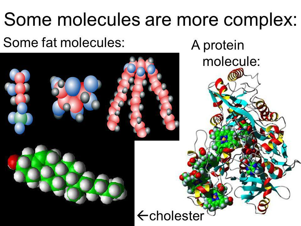 Some molecules are more complex: Some fat molecules: A protein molecule: cholester ol