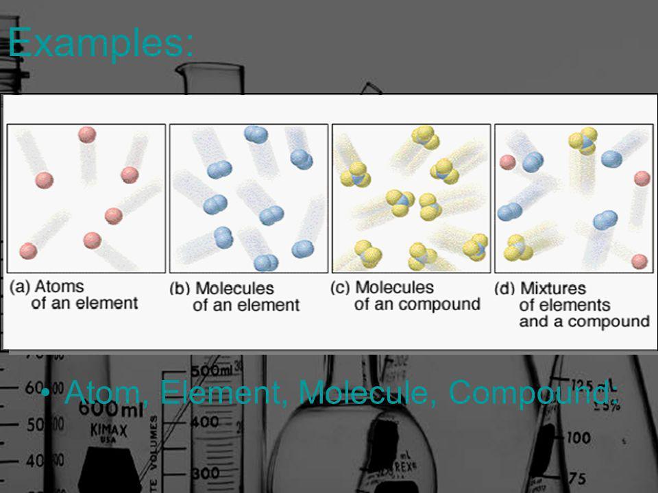 Examples: Atom, Element, Molecule, Compound: