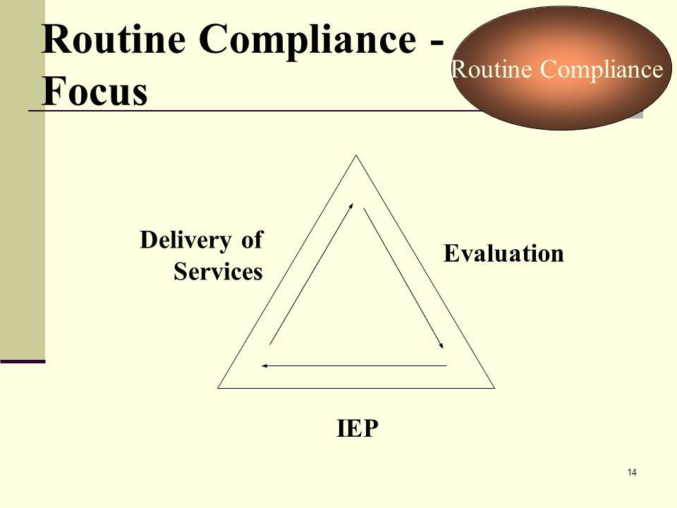 14 Routine Compliance - Focus IEP Evaluation Delivery of Services Routine Compliance