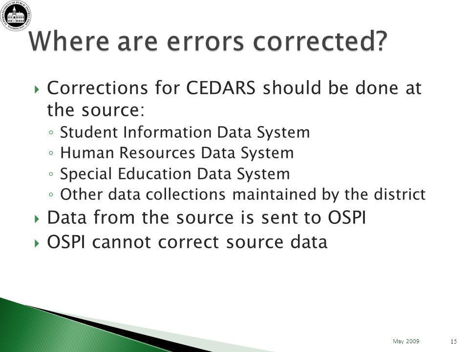 Corrections for CEDARS should be done at the source: Student Information Data System Human Resources Data System Special Education Data System Other data collections maintained by the district Data from the source is sent to OSPI OSPI cannot correct source data 15 May 2009