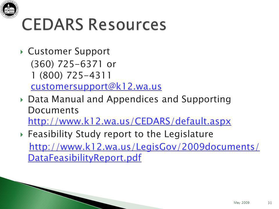 Customer Support (360) 725-6371 or 1 (800) 725-4311 customersupport@k12.wa.uscustomersupport@k12.wa.us Data Manual and Appendices and Supporting Documents http://www.k12.wa.us/CEDARS/default.aspx http://www.k12.wa.us/CEDARS/default.aspx Feasibility Study report to the Legislature http://www.k12.wa.us/LegisGov/2009documents/ DataFeasibilityReport.pdf 31 May 2009