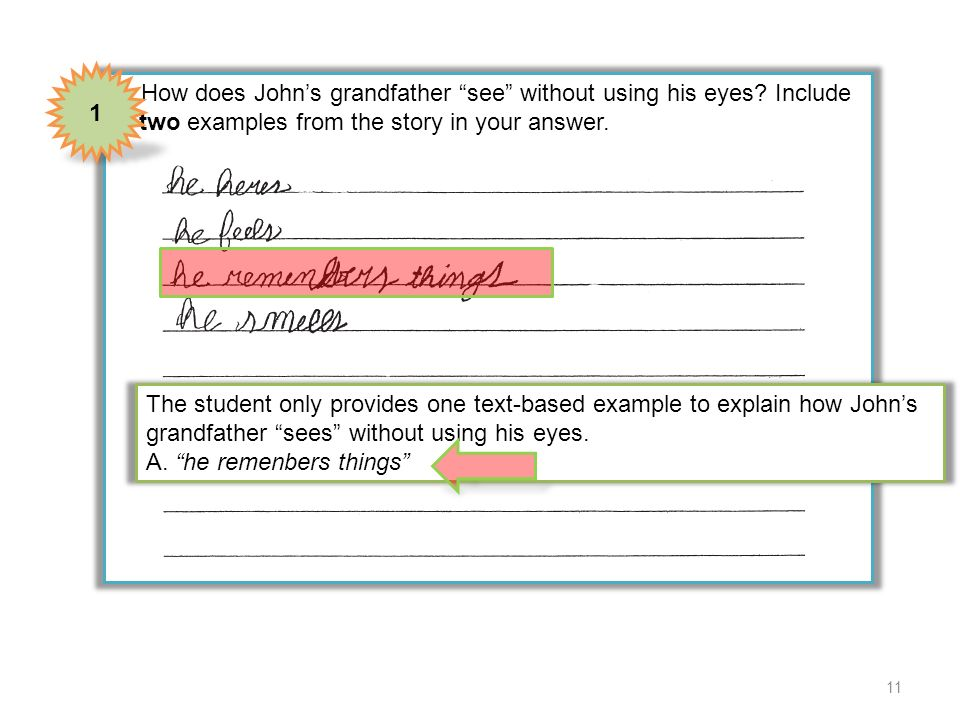 4 How does Johns grandfather see without using his eyes? Include two examples from the story in your answer. 1 The student only provides one text-base