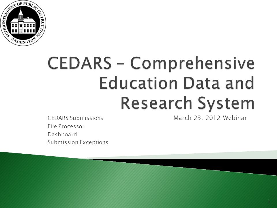 CEDARS Submissions March 23, 2012 Webinar File Processor Dashboard Submission Exceptions 1
