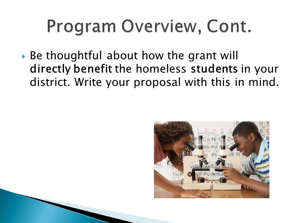 Be thoughtful about how the grant will directly benefit the homeless students in your district.