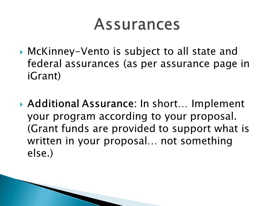 McKinney-Vento is subject to all state and federal assurances (as per assurance page in iGrant) Additional Assurance: In short… Implement your program according to your proposal.
