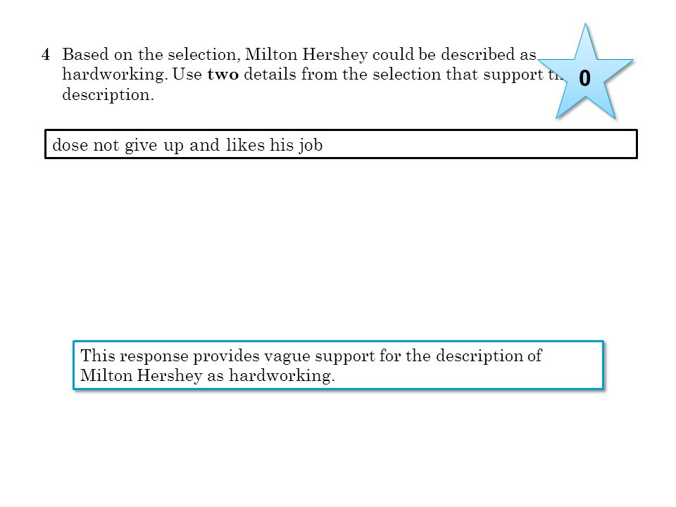 4 Based on the selection, Milton Hershey could be described as hardworking. Use two details from the selection that support this description. dose not