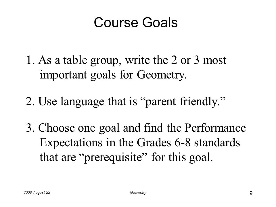 2008 August 22Geometry Course Goals 1.