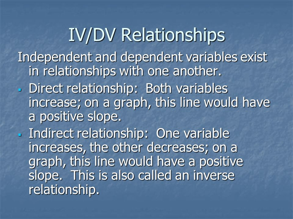 IV/DV Relationships Independent and dependent variables exist in relationships with one another. Direct relationship: Both variables increase; on a gr