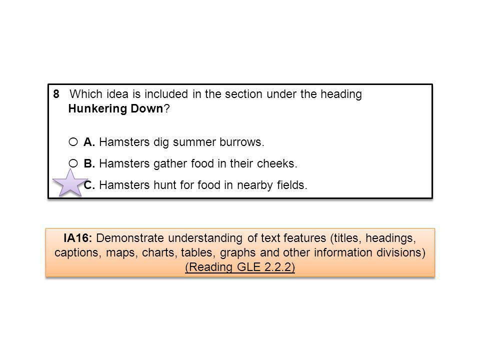 8 Which idea is included in the section under the heading Hunkering Down? Ο A. Hamsters dig summer burrows. Ο B. Hamsters gather food in their cheeks.