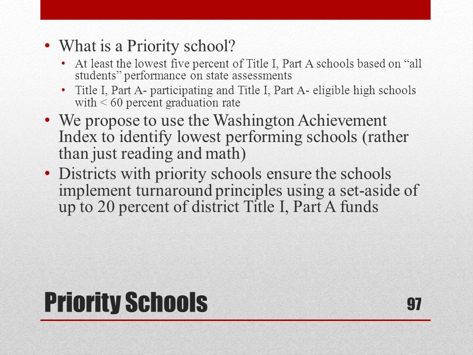 What is a Priority school.