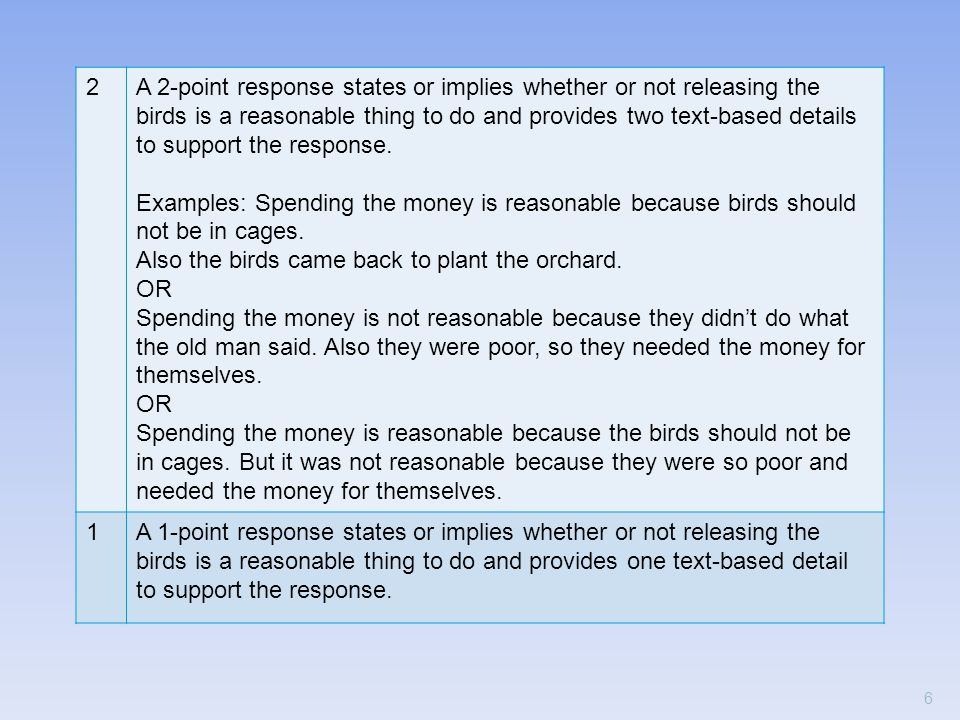 2A 2-point response states or implies whether or not releasing the birds is a reasonable thing to do and provides two text-based details to support th