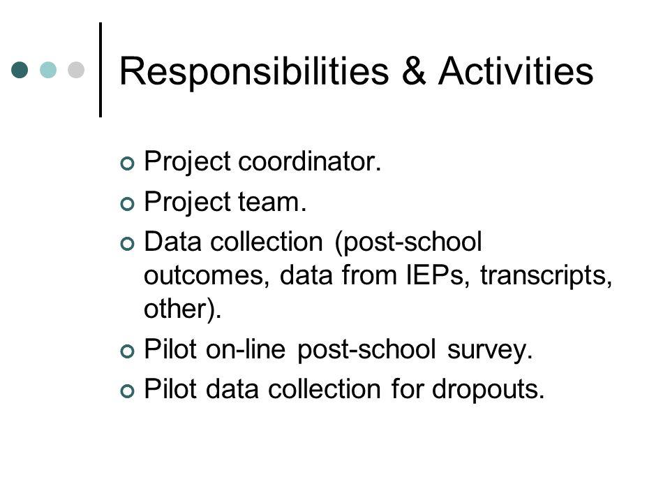 Responsibilities & Activities Project coordinator.