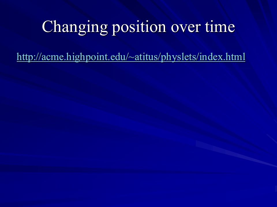 Changing position over time http://acme.highpoint.edu/~atitus/physlets/index.html