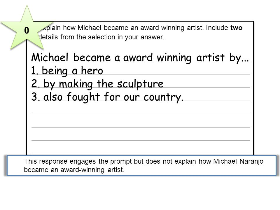 3 Explain how Michael became an award winning artist. Include two details from the selection in your answer. Michael became a award winning artist by.