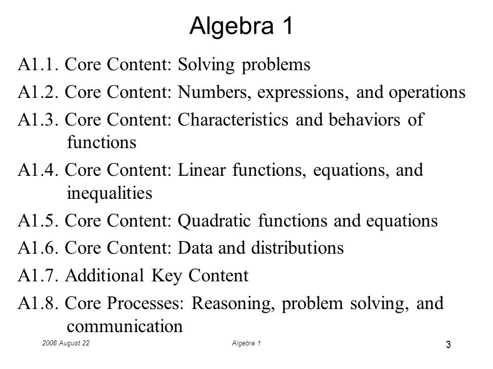 2008 August 22Algebra 1 Paragraphs as an Image of the Course Read the paragraphs for this course and then discuss them with your neighbors.
