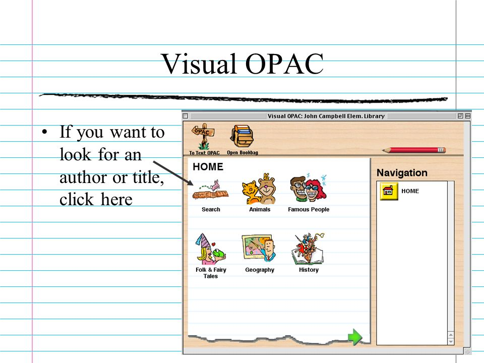 Visual OPAC If you want to look for an author or title, click here