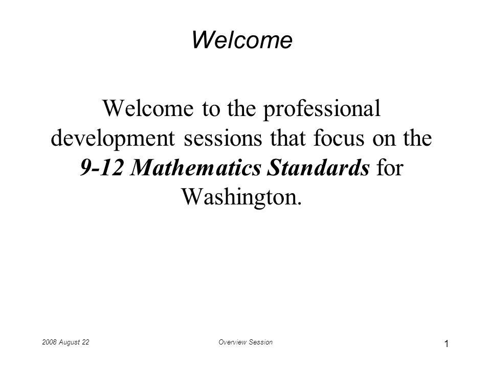 2008 August 22Overview Session National Mathematics Advisory Panel: Major Topics of School Algebra Symbols and Expressions Linear Equations Quadratic Equations Functions Algebra of Polynomials Combinatorics and Finite Probability 32