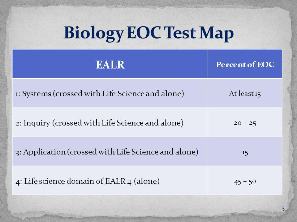 EALR Percent of EOC 1: Systems (crossed with Life Science and alone) At least 15 2: Inquiry (crossed with Life Science and alone) 20 – 25 3: Application (crossed with Life Science and alone) 15 4: Life science domain of EALR 4 (alone) 45 – 50 5