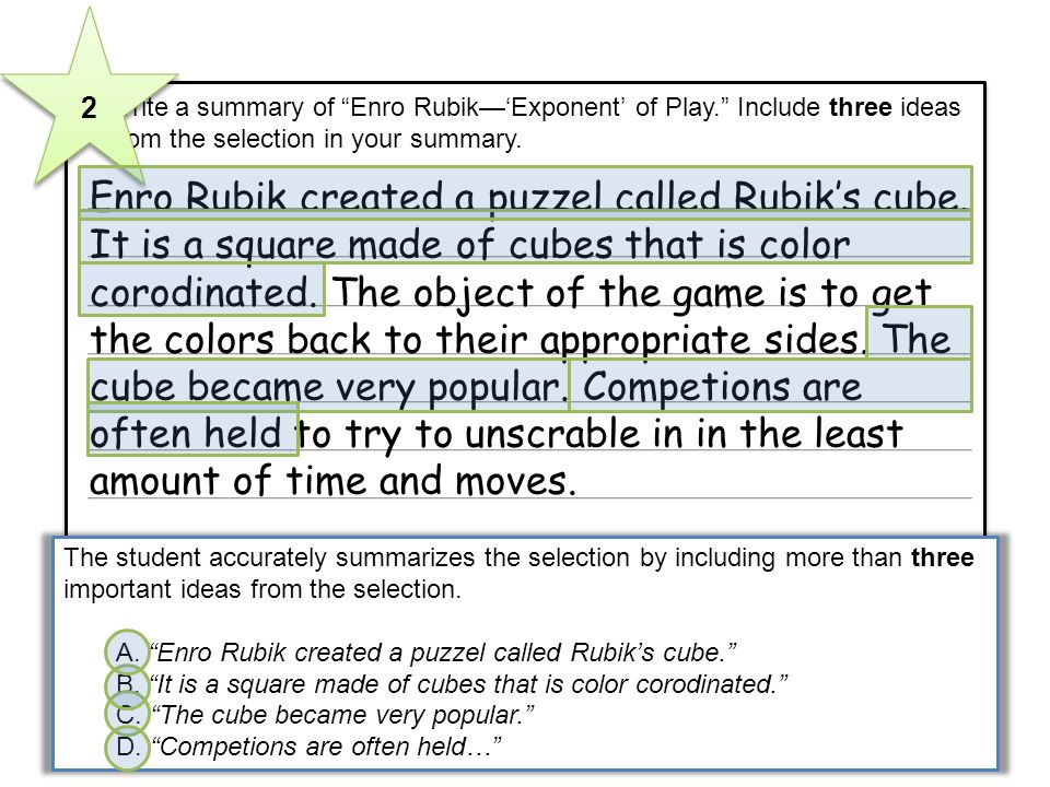3 Write a summary of Enro RubikExponent of Play. Include three ideas from the selection in your summary. Enro Rubik created a puzzel called Rubiks cub