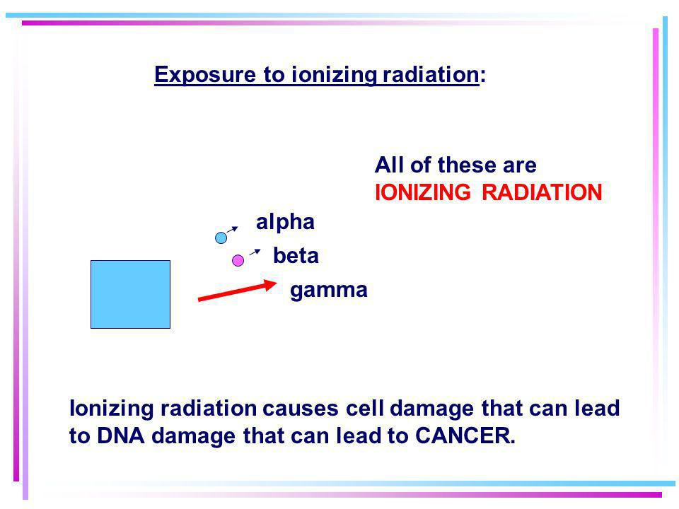 The unit of radiation exposure is called the REM (Radiation Equivalent in Man) This is a direct measure of the number of damaged cells. The average do