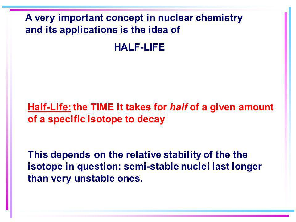 RATES OF NUCLEAR DECAY A half-life is the time required for one half of a sample of radioactive sample of a radioisotope to decay –Unlike chemical rea