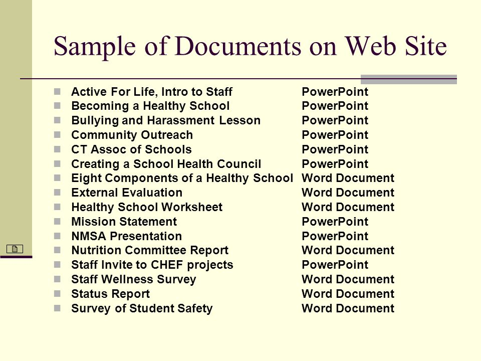 Sample of Documents on Web Site Active For Life, Intro to Staff Becoming a Healthy School Bullying and Harassment Lesson Community Outreach CT Assoc o