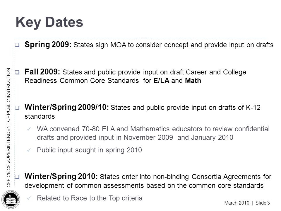 March 2010 | Slide 3 OFFICE OF SUPERINTENDENT OF PUBLIC INSTRUCTION Key Dates Spring 2009: States sign MOA to consider concept and provide input on drafts Fall 2009: States and public provide input on draft Career and College Readiness Common Core Standards for E/LA and Math Winter/Spring 2009/10: States and public provide input on drafts of K-12 standards WA convened 70-80 ELA and Mathematics educators to review confidential drafts and provided input in November 2009 and January 2010 Public input sought in spring 2010 Winter/Spring 2010: States enter into non-binding Consortia Agreements for development of common assessments based on the common core standards Related to Race to the Top criteria