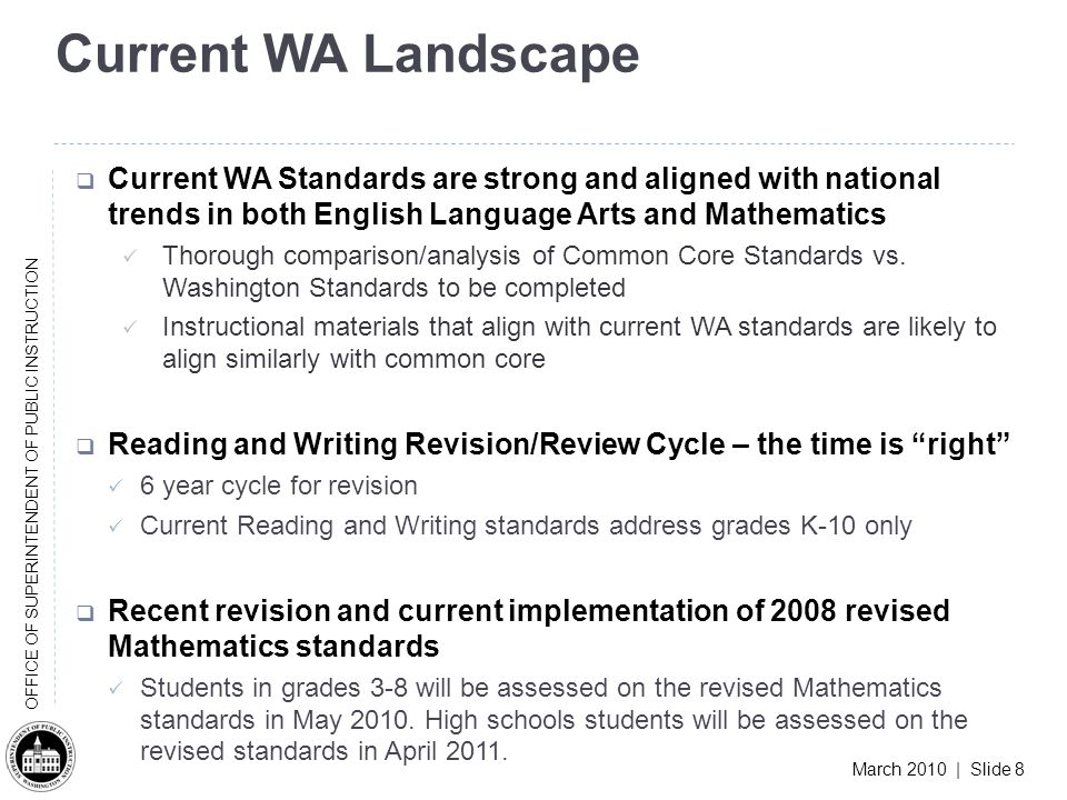 March 2010 | Slide 8 OFFICE OF SUPERINTENDENT OF PUBLIC INSTRUCTION Current WA Landscape Current WA Standards are strong and aligned with national trends in both English Language Arts and Mathematics Thorough comparison/analysis of Common Core Standards vs.
