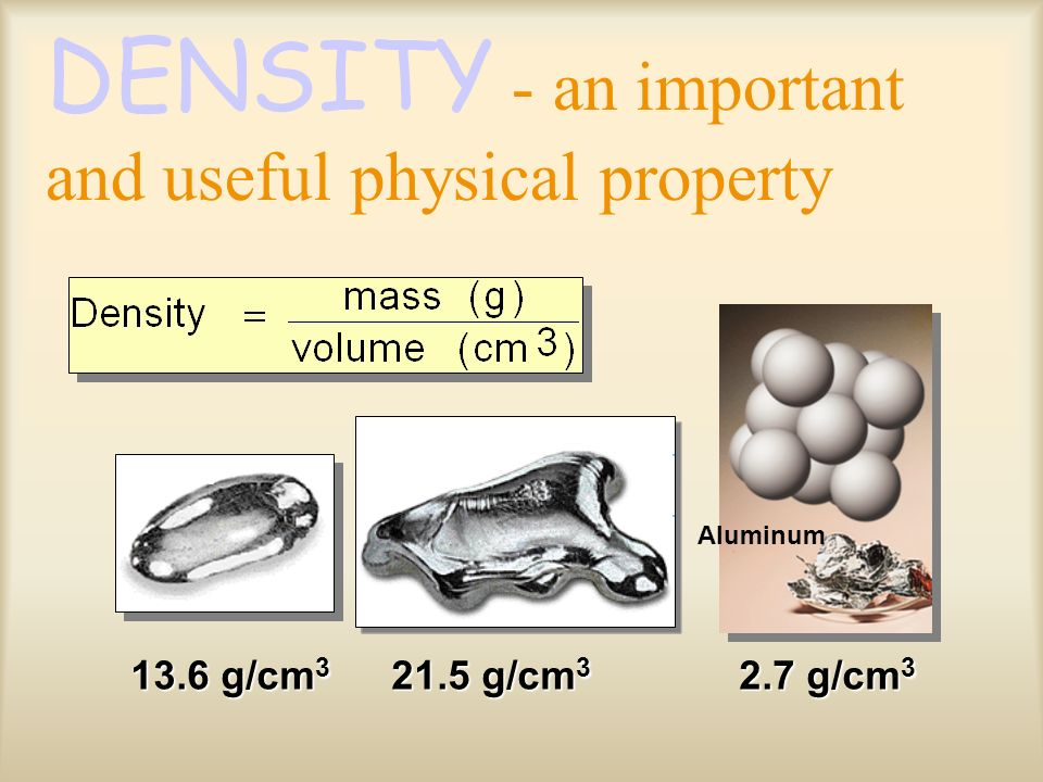 Units of Density: –Mass is measured in g. –Volume is measured in mL or cm 3.