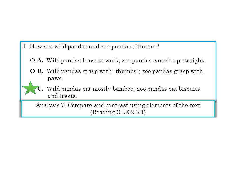 1 How are wild pandas and zoo pandas different? Ο A. Wild pandas learn to walk; zoo pandas can sit up straight. Ο B. Wild pandas grasp with thumbs; zo