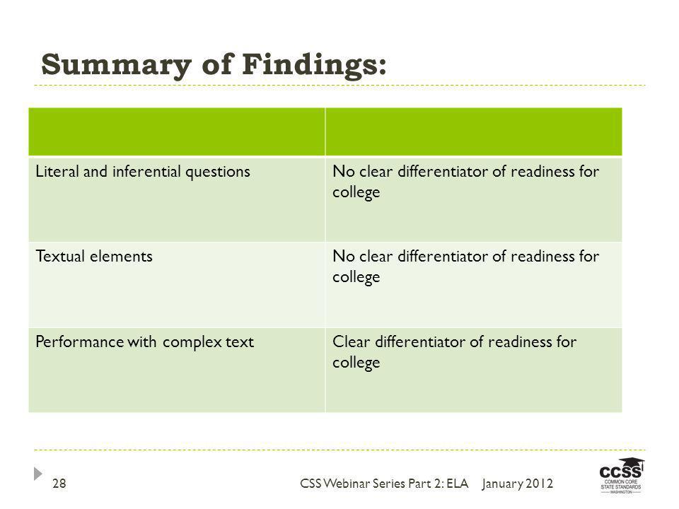Summary of Findings: Literal and inferential questionsNo clear differentiator of readiness for college Textual elementsNo clear differentiator of readiness for college Performance with complex textClear differentiator of readiness for college January 201228CSS Webinar Series Part 2: ELA