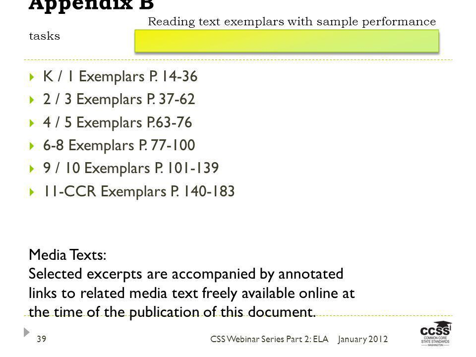 Appendix B Reading text exemplars with sample performance tasks K / 1 Exemplars P.