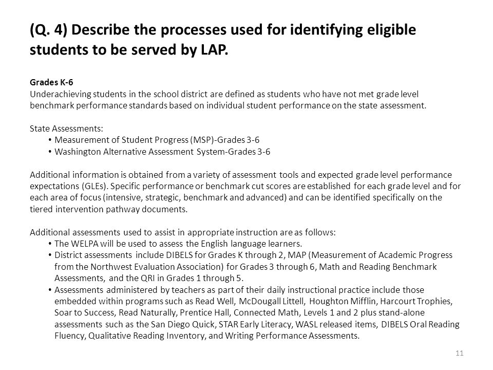 (Q. 4) Describe the processes used for identifying eligible students to be served by LAP. Grades K-6 Underachieving students in the school district ar