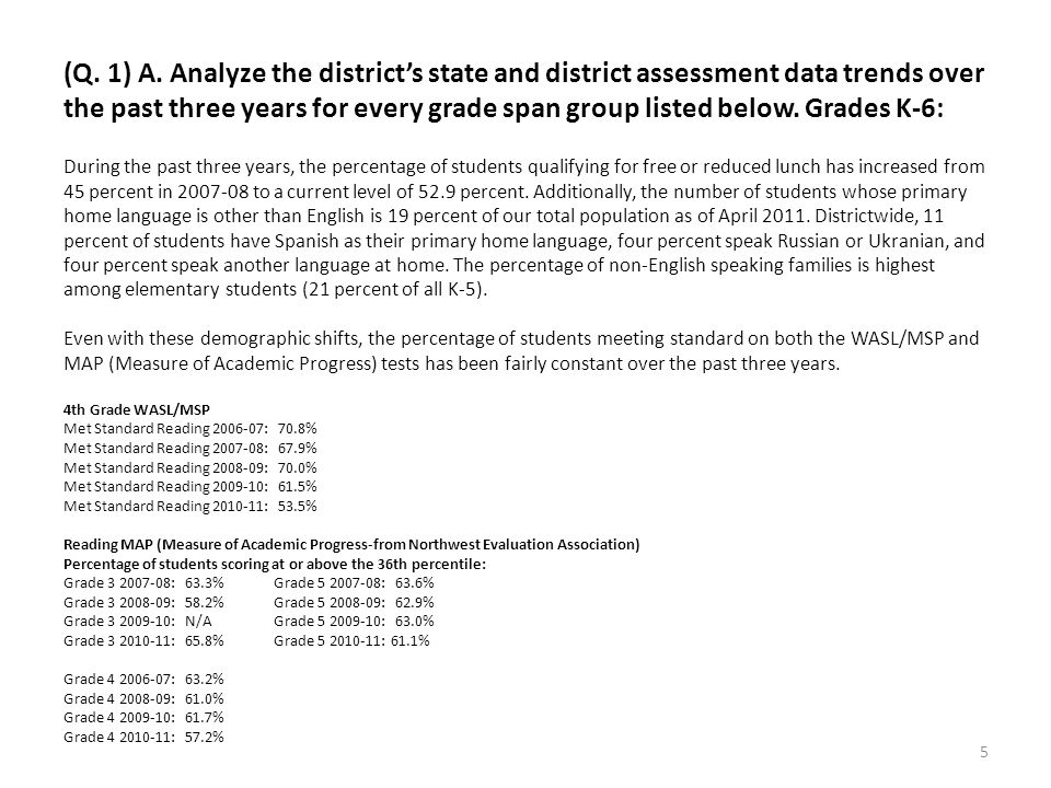 (Q. 1) A. Analyze the districts state and district assessment data trends over the past three years for every grade span group listed below. Grades K-