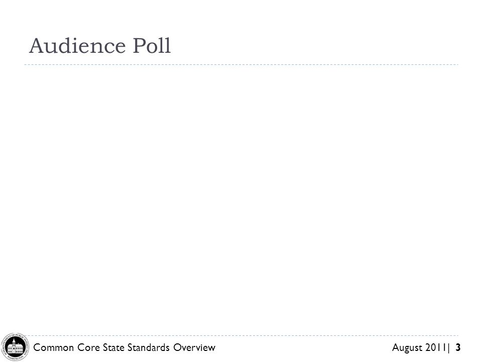 Common Core State Standards Overview August 2011| 3 Audience Poll