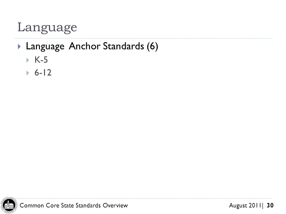 Common Core State Standards Overview August 2011| 30 Language Language Anchor Standards (6) K-5 6-12