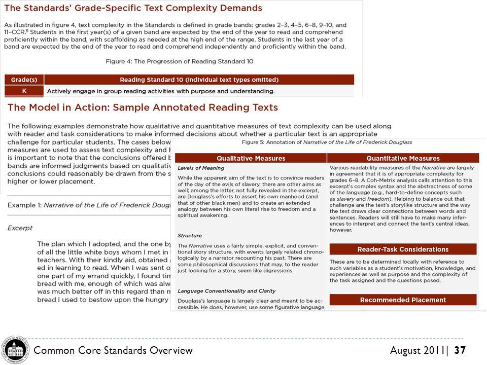 Common Core Standards OverviewAugust 2011| 37