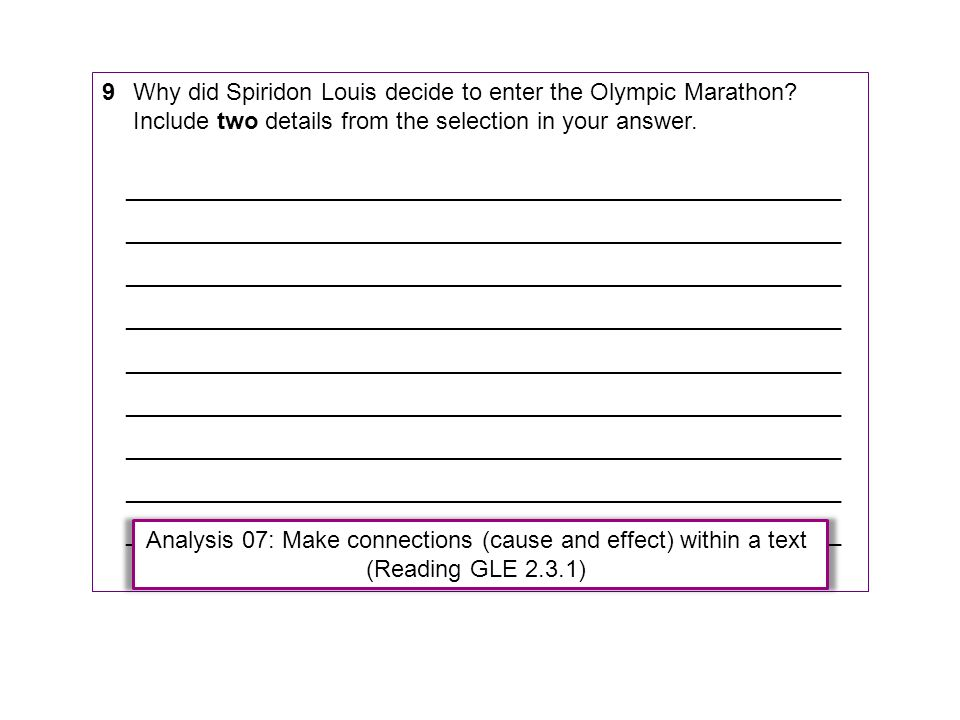 9Why did Spiridon Louis decide to enter the Olympic Marathon? Include two details from the selection in your answer. _________________________________