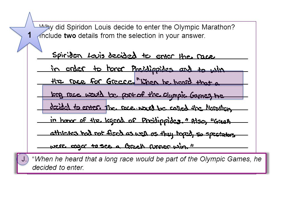5Why did Spiridon Louis decide to enter the Olympic Marathon? Include two details from the selection in your answer. _________________________________