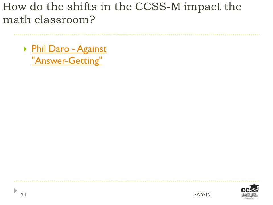 How do the shifts in the CCSS-M impact the math classroom.