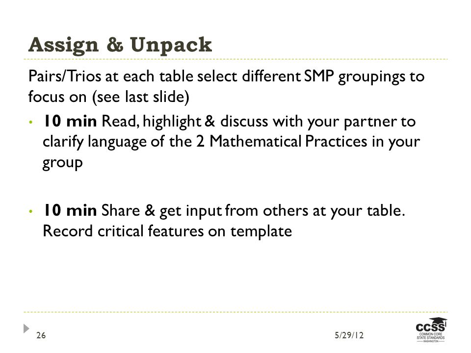 Assign & Unpack Pairs/Trios at each table select different SMP groupings to focus on (see last slide) 10 min Read, highlight & discuss with your partner to clarify language of the 2 Mathematical Practices in your group 10 min Share & get input from others at your table.