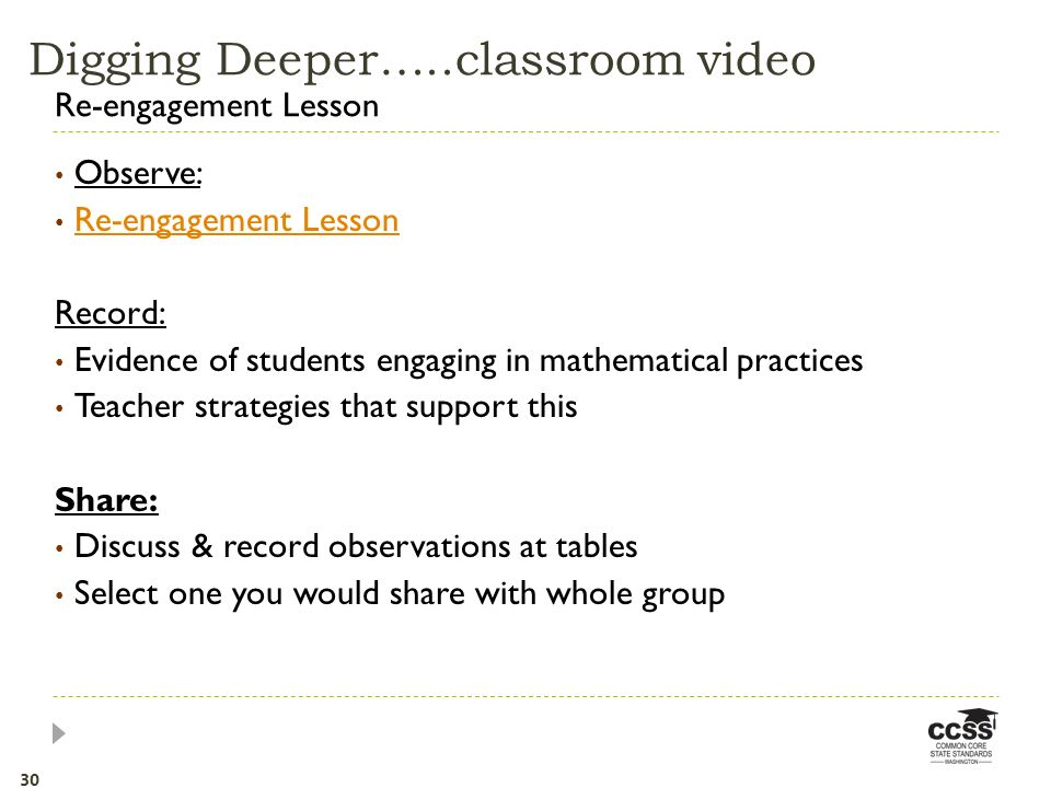 Observe: Re-engagement Lesson Record: Evidence of students engaging in mathematical practices Teacher strategies that support this Share: Discuss & record observations at tables Select one you would share with whole group Re-engagement Lesson Digging Deeper…..classroom video 30