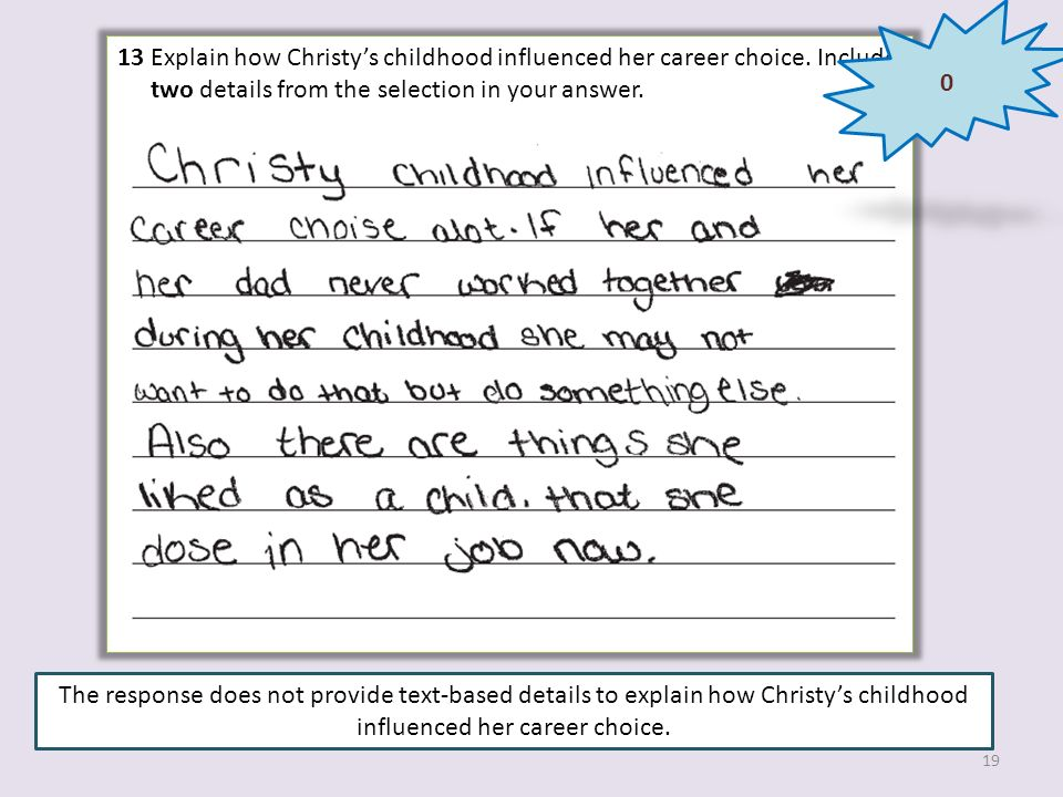 13 Explain how Christys childhood influenced her career choice. Include two details from the selection in your answer. The response does not provide t