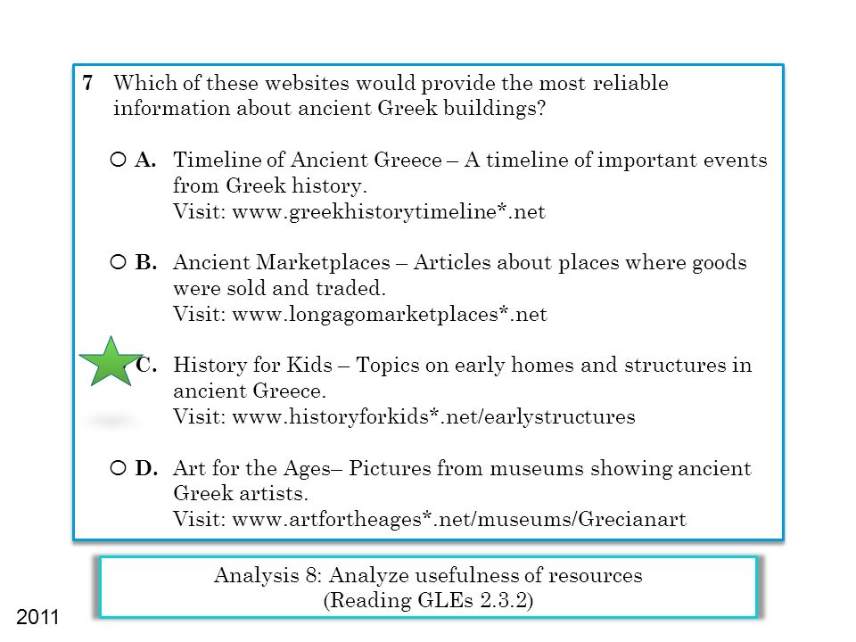7 Which of these websites would provide the most reliable information about ancient Greek buildings? Ο A. Timeline of Ancient Greece – A timeline of i