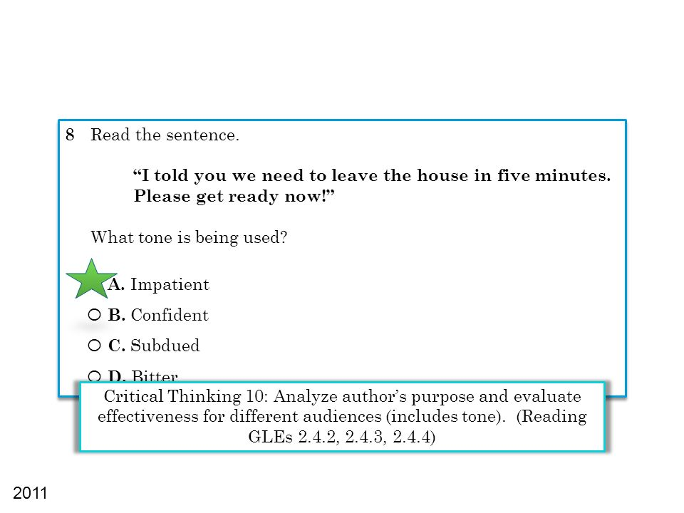 8 Read the sentence. I told you we need to leave the house in five minutes. Please get ready now! What tone is being used? Ο A. Impatient Ο B. Confide