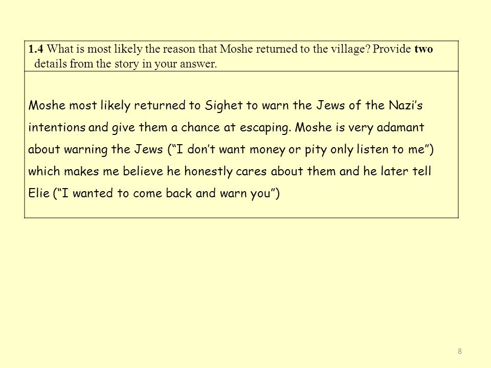 1.4 What is most likely the reason that Moshe returned to the village.