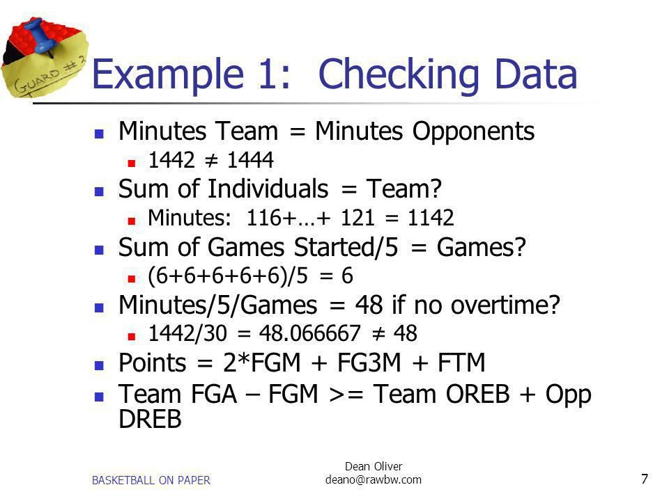 BASKETBALL ON PAPER Dean Oliver deano@rawbw.com 7 Example 1: Checking Data Minutes Team = Minutes Opponents 1442 1444 Sum of Individuals = Team? Minut