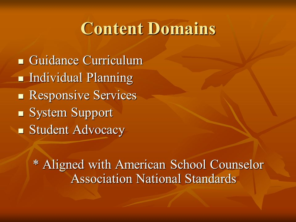 Content Domains Guidance Curriculum Guidance Curriculum Individual Planning Individual Planning Responsive Services Responsive Services System Support System Support Student Advocacy Student Advocacy * Aligned with American School Counselor Association National Standards